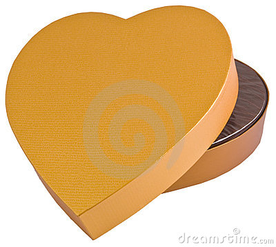 Open heart shaped golden chocolate box isolated
