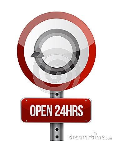 Open 24 hours road sign illustration design