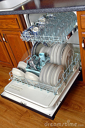 Open House Kitchen Dishwasher Full of Dirty Dishes