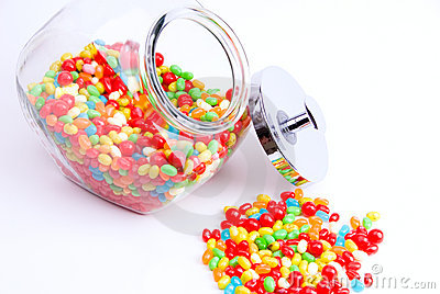 Open jar of jelly beans