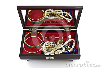 Open jewelry box with jewels