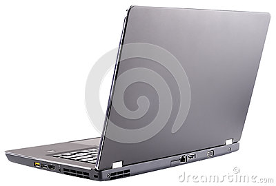 Open laptop rear view