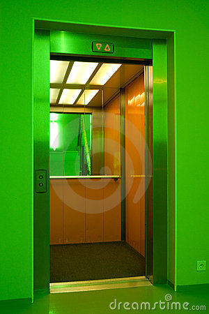 Open lift (elevator) doors