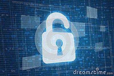 Open lock on digital background