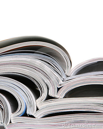 Free Open Magazines On A White Background Stock Photos - 14770113