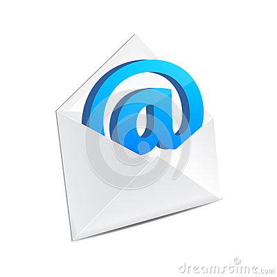 Open mail envelope with e-mail sign