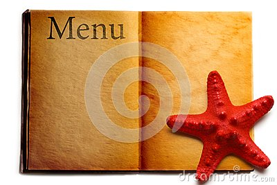 Open menu book and seastar
