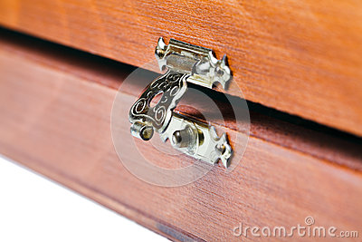 Open metal lock of wooden box