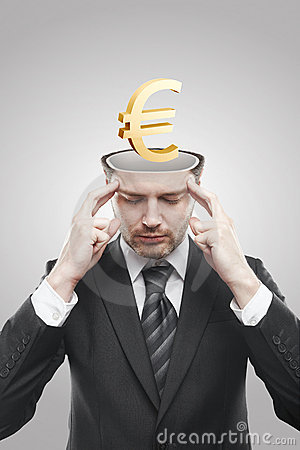 Open minded man with 3d Gold Euro Sign inside