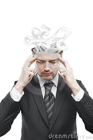 Open minded man with confusing tangle of thoughts