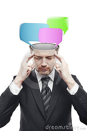 Open minded man with speech bubbles inside