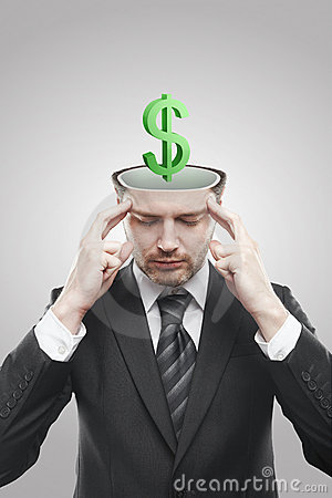 Free Open Minded Man With 3d Green Dollar Sign Inside Royalty Free Stock Photography - 20937827