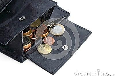 Open money bag with euro coins