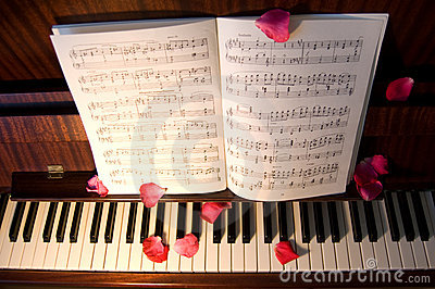 Open music on the piano