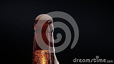 Open natte die bierfles op zwarte wordt geïsoleerd stock footage