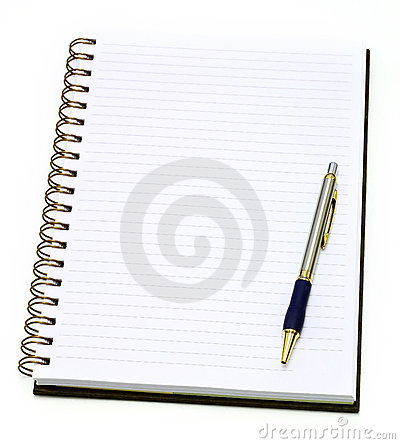 Open note book with pen