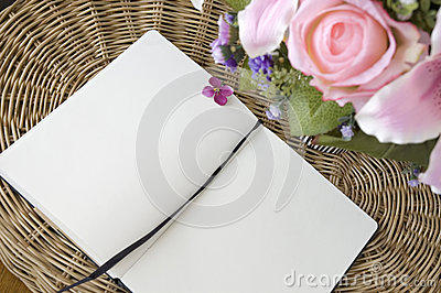 Open notebook on basket