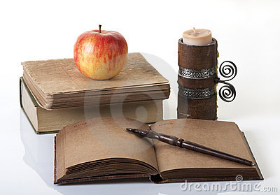 Open notebook and books