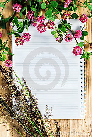 Open notebook, clover and herbs
