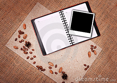 Open notebook with polaroid