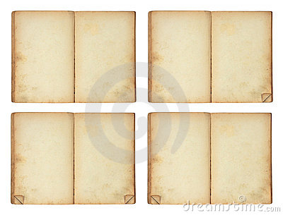 Open old blank book, 4 versions