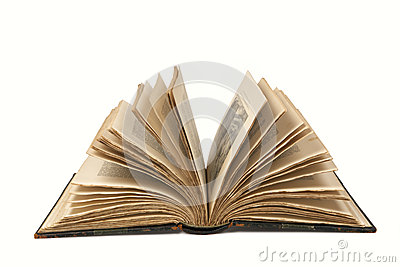 Open Old Book with Clipping Path