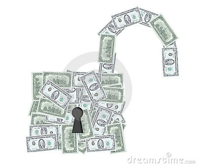 Open padlock with dollar notes