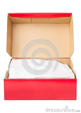 Open paper shoe box