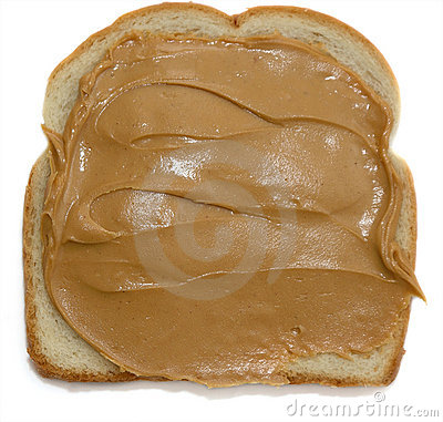 Open peanut butter sandwich