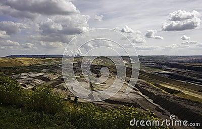 Open-pit lignite mining