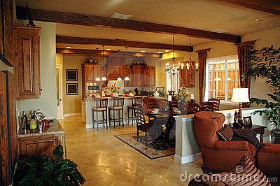 Open plan kitchen  area