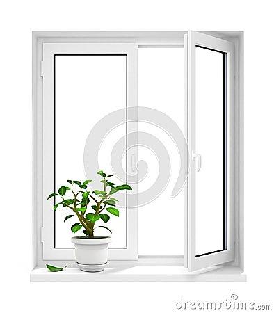 Open plastic window with flowerpot on windowsill