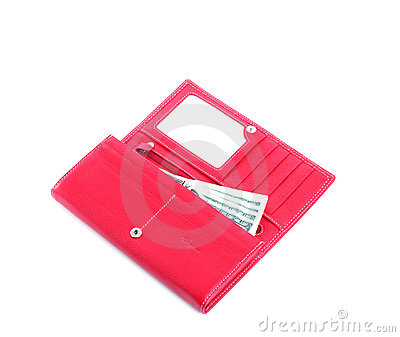 Open purse feminine red with money 4