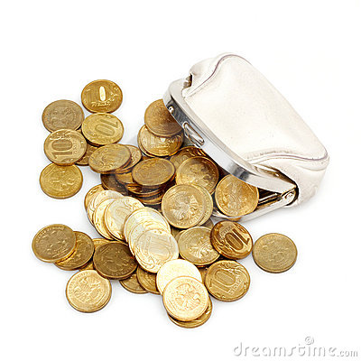 Free Open Purse With Gold Coins Stock Image - 20313611