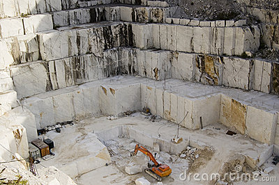 Open quarry of white marble