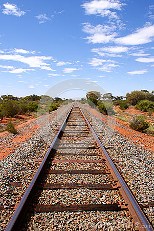 Open railroad in the Australian Outback
