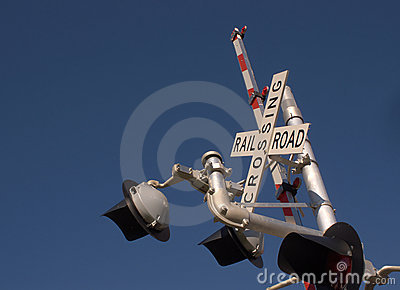 Open railroad crossing sign
