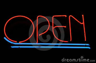 Open Red and Blue Neon Sign
