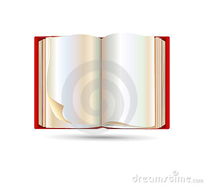 Open red book isolated on white background