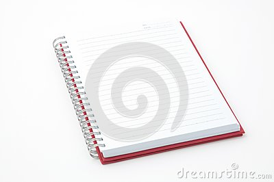 Open red note book