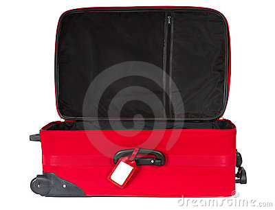 Open red suitcase with blank tag over white.