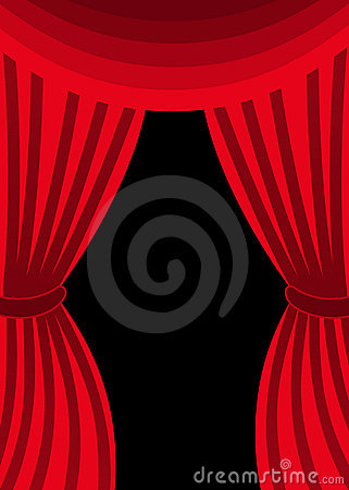Free Open Red Swagged Curtains Stock Photo - 14329870