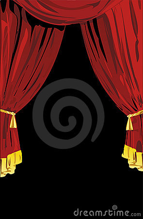 Free Open Red Theatrical Curtains Royalty Free Stock Images - 1913879