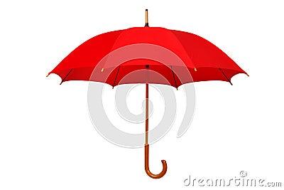 Open red umbrella