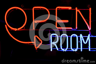 Open room neon sign