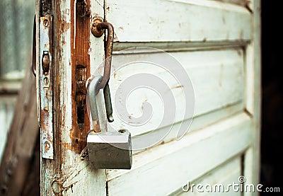 Open Rusty Lock On An Old Door Stock Photo - Image: 56875790