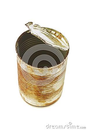 Open rusty tin can