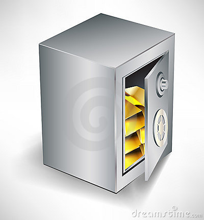 Open safe with gold inside