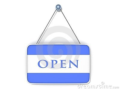 Open sign blue plate on white