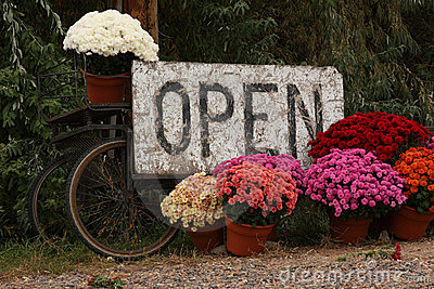 Open Sign with Colorful Flowers